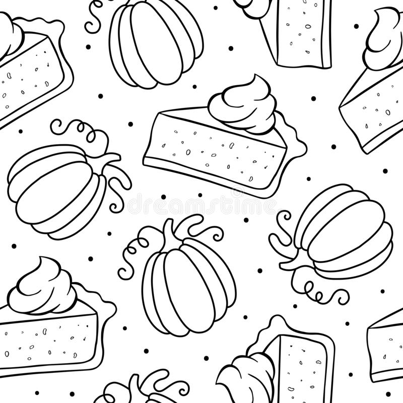 Seamless pattern of pumpkin pie and pumpkin stock illustration