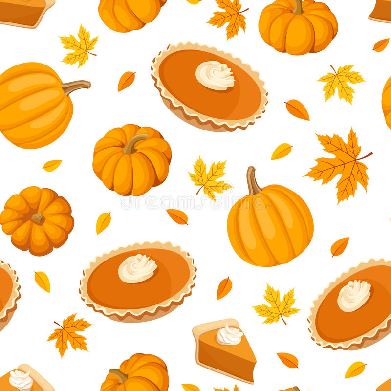 Seamless pattern with pumpkin pies and pumpkins. Vector illustration. Vector seamless pattern with pumpkin pies, pumpkins and autumn leaves on a white vector illustration