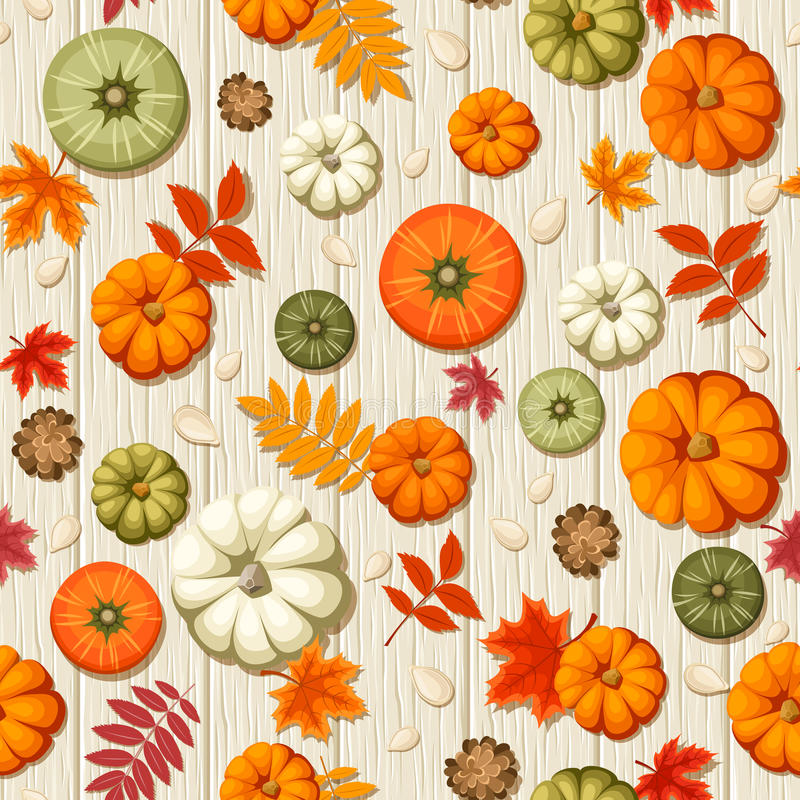 Seamless pattern with pumpkins and autumn leaves on a wooden background. Vector illustration. Vector seamless pattern with colorful pumpkins, pumpkin seeds stock illustration
