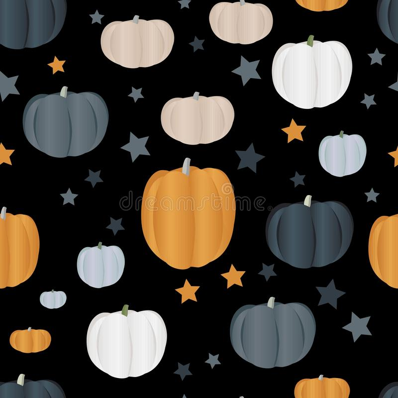 Seamless pattern with pumpkins of different colors. Autumn harvest. Healthy food. Textile design royalty free illustration