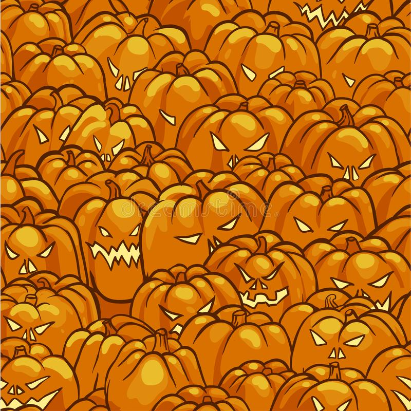 Seamless Pattern with Pumpkins for Halloween Yellow and Orange Color royalty free illustration
