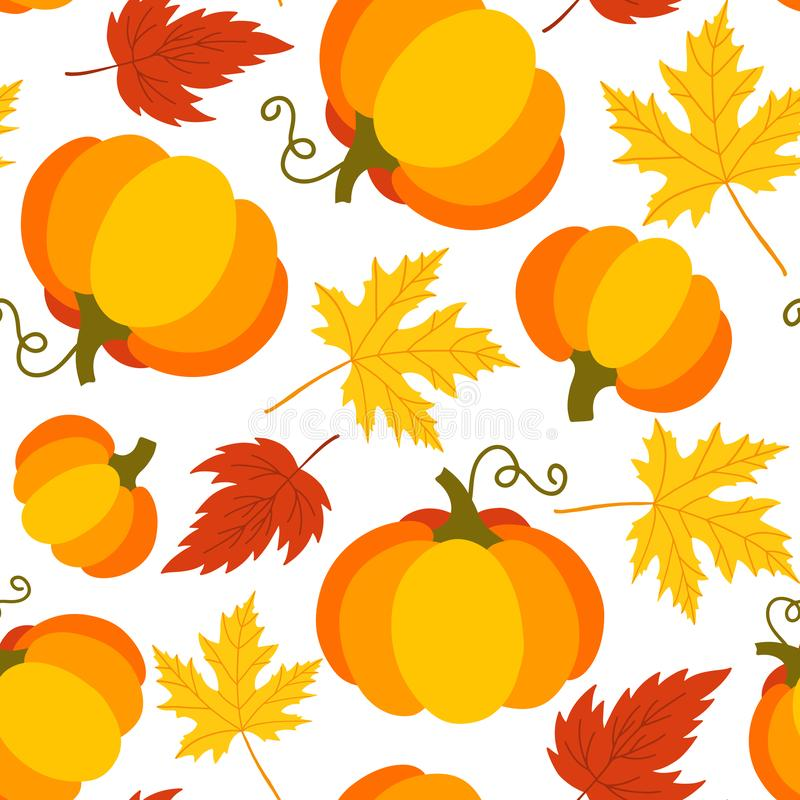 Seamless pattern of pumpkins and leaves stock illustration