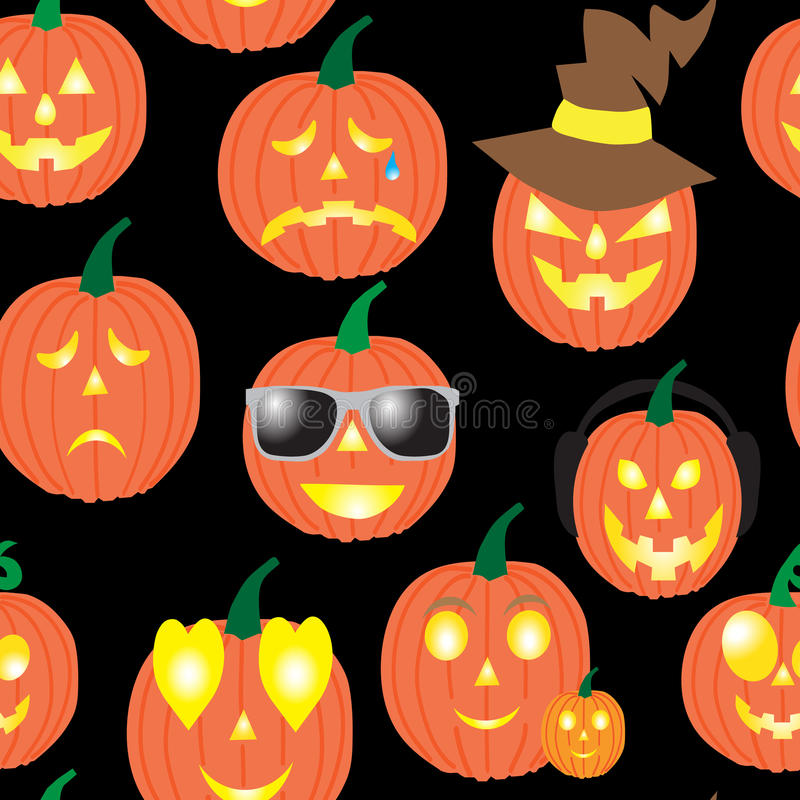 Seamless pattern of pumpkins , smiles for Halloween stock photography