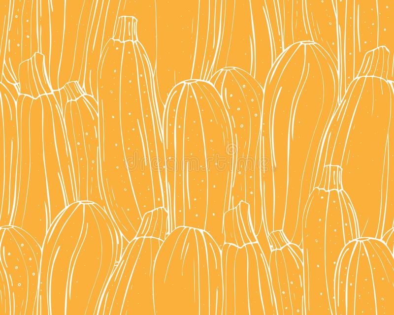 Seamless pattern of pumpkins white outline on a yellow background stock illustration