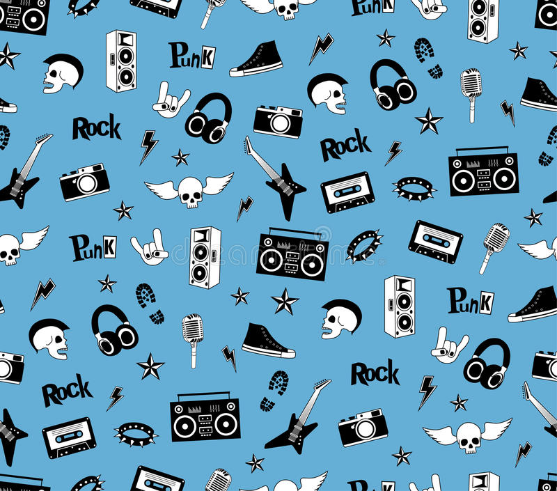 Seamless pattern. Punk rock music on blue background. Doodle style elements, emblems, badges, logo and icons. royalty free stock photos