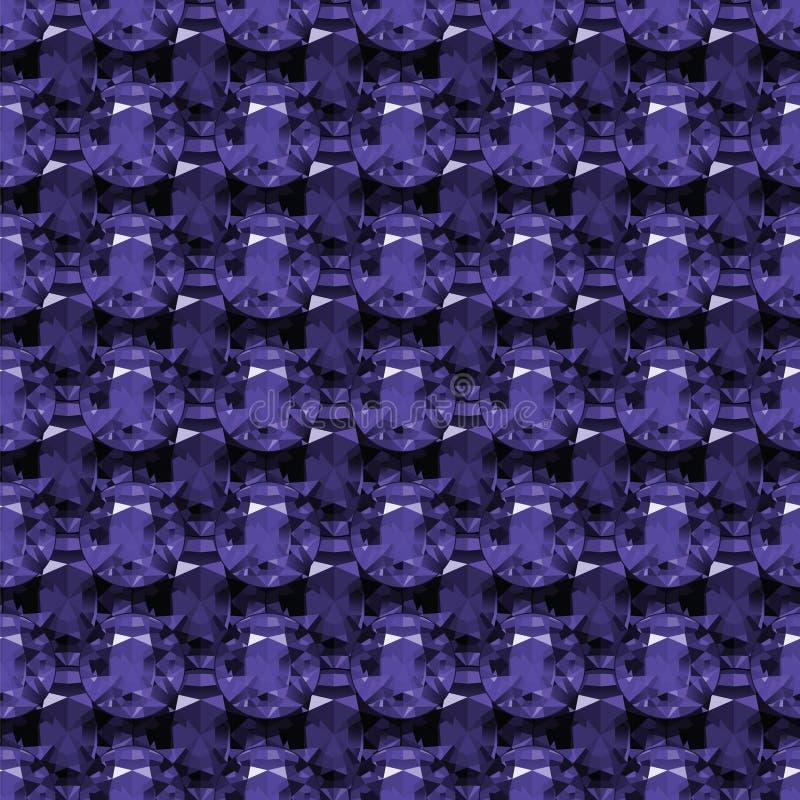 Seamless pattern of purple amethyst stock illustration