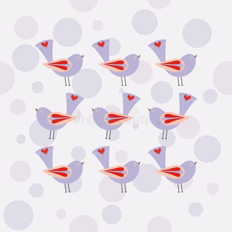 Seamless Pattern With Purple Bird Stock Image