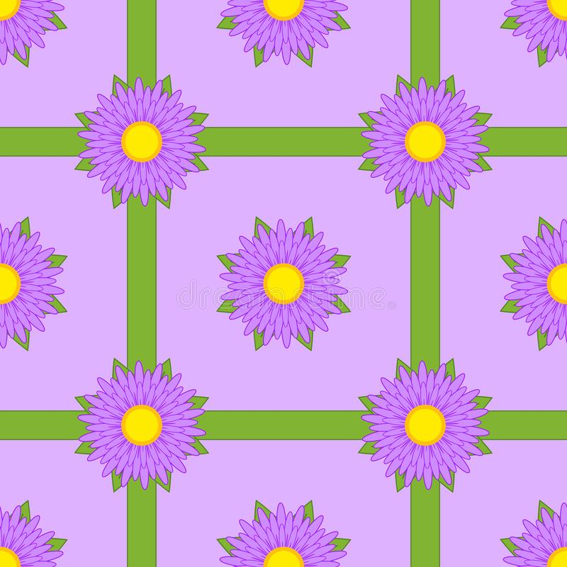 Seamless pattern of purple flowers with ribbons and leaves on a purple background vector illustration