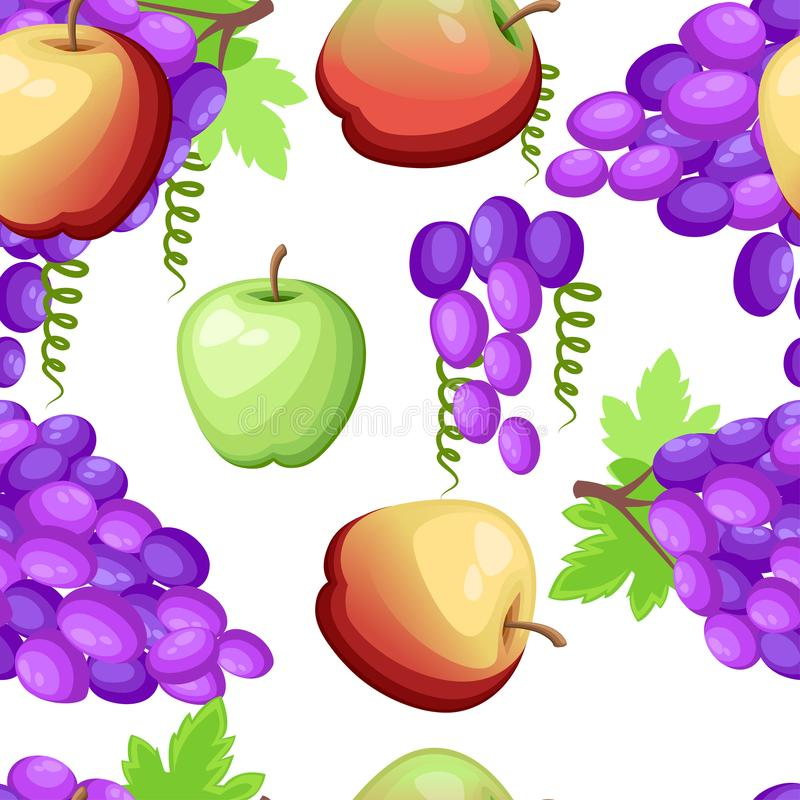 Seamless pattern. Purple grapes, yellow and green apples. Fruit with leaf. Vector illustration on white background.  vector illustration