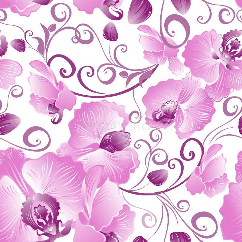 Seamless pattern of purple orchids stock photo
