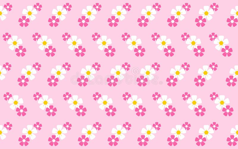 Seamless pattern with flowers and pink bakcground. Seamless pattern with purple and white flowers and pink bakcground stock illustration