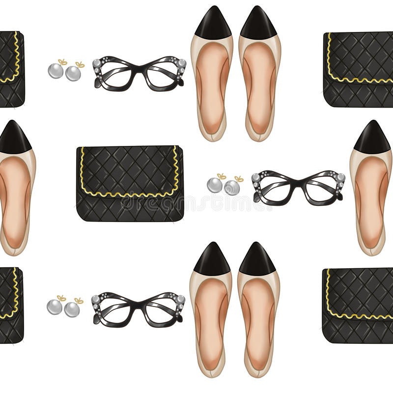 Seamless Pattern - quilt bag - pointed shoes - glasses and pearls. Hand drawn Fashion illustration - Background - Fashion Parisian items - quilt bag - pointed vector illustration