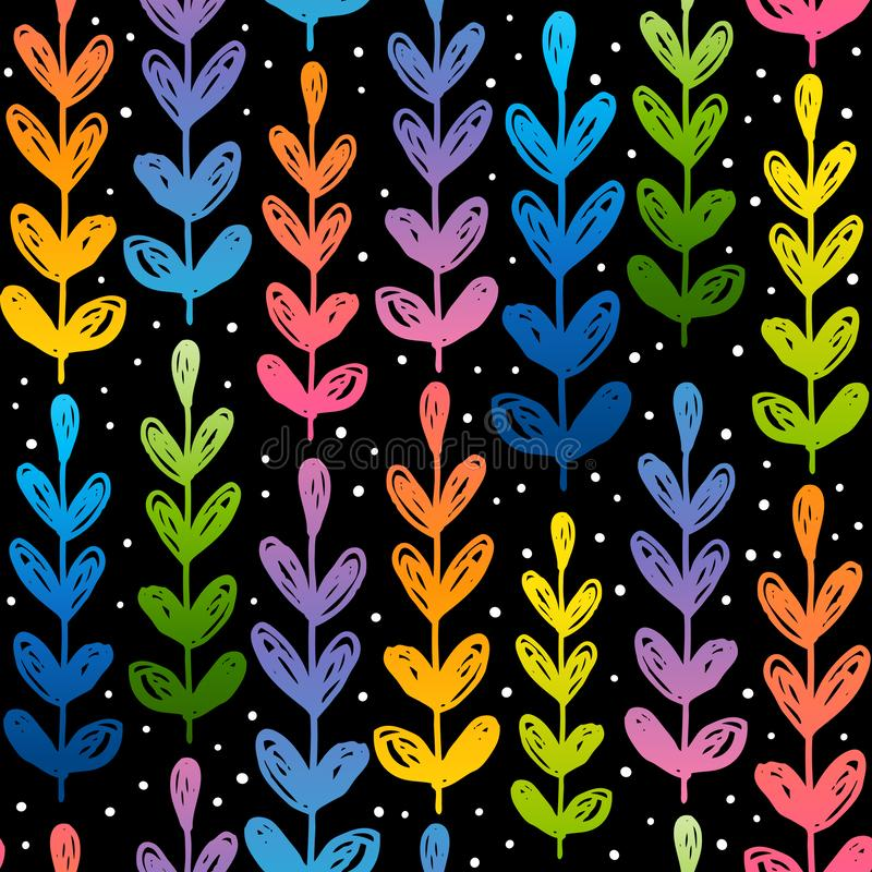 Seamless pattern with rainbow herbal silhouettes stock illustration
