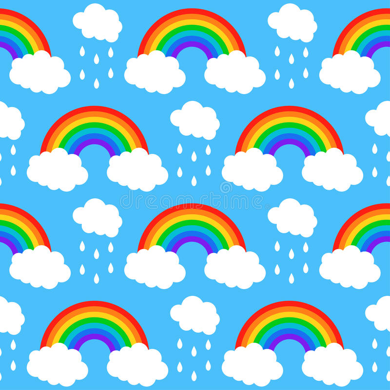 Seamless pattern with rainbows and clouds on a blu vector illustration