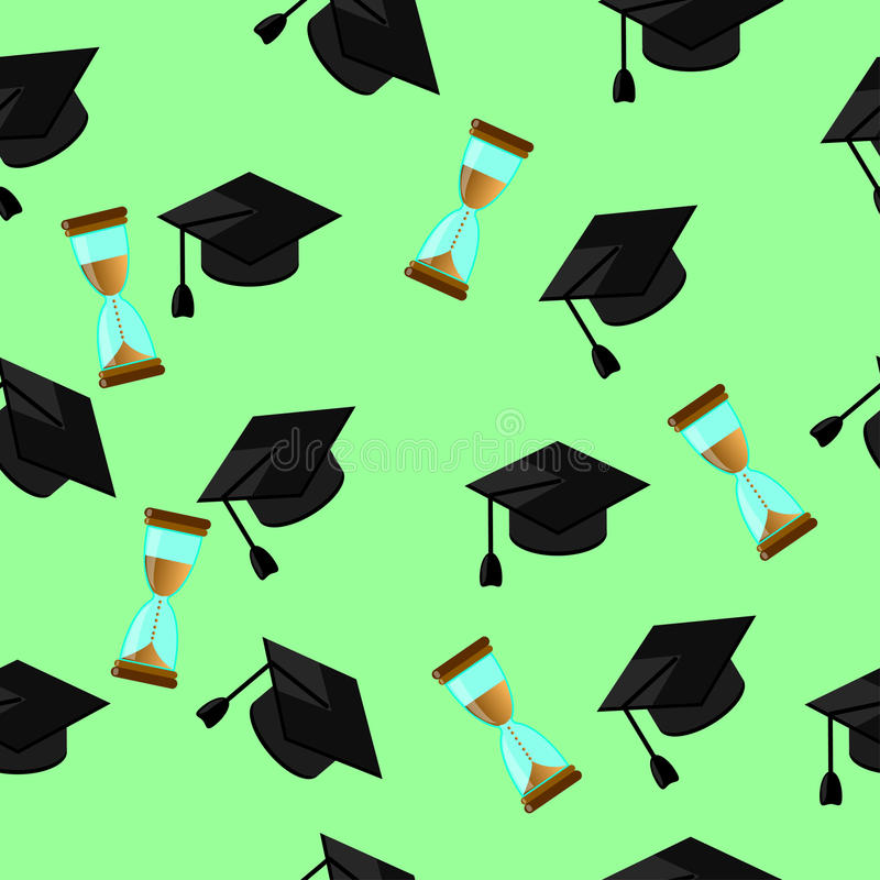 Seamless pattern of random caps graduations and hourglass. On a pale green background. Higher education celebration anniversary symbol pattern royalty free illustration