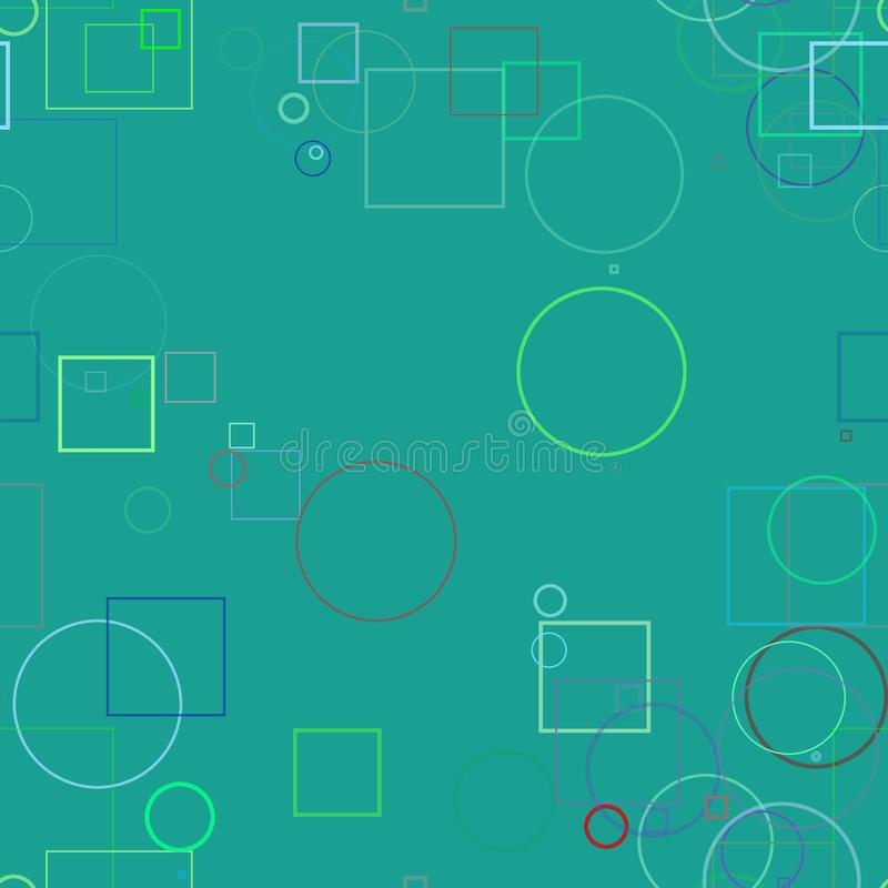 Random shape for design background, seamless. Seamless pattern, Random circle, square & rectangle shape, digital generative art for design texture & background royalty free illustration