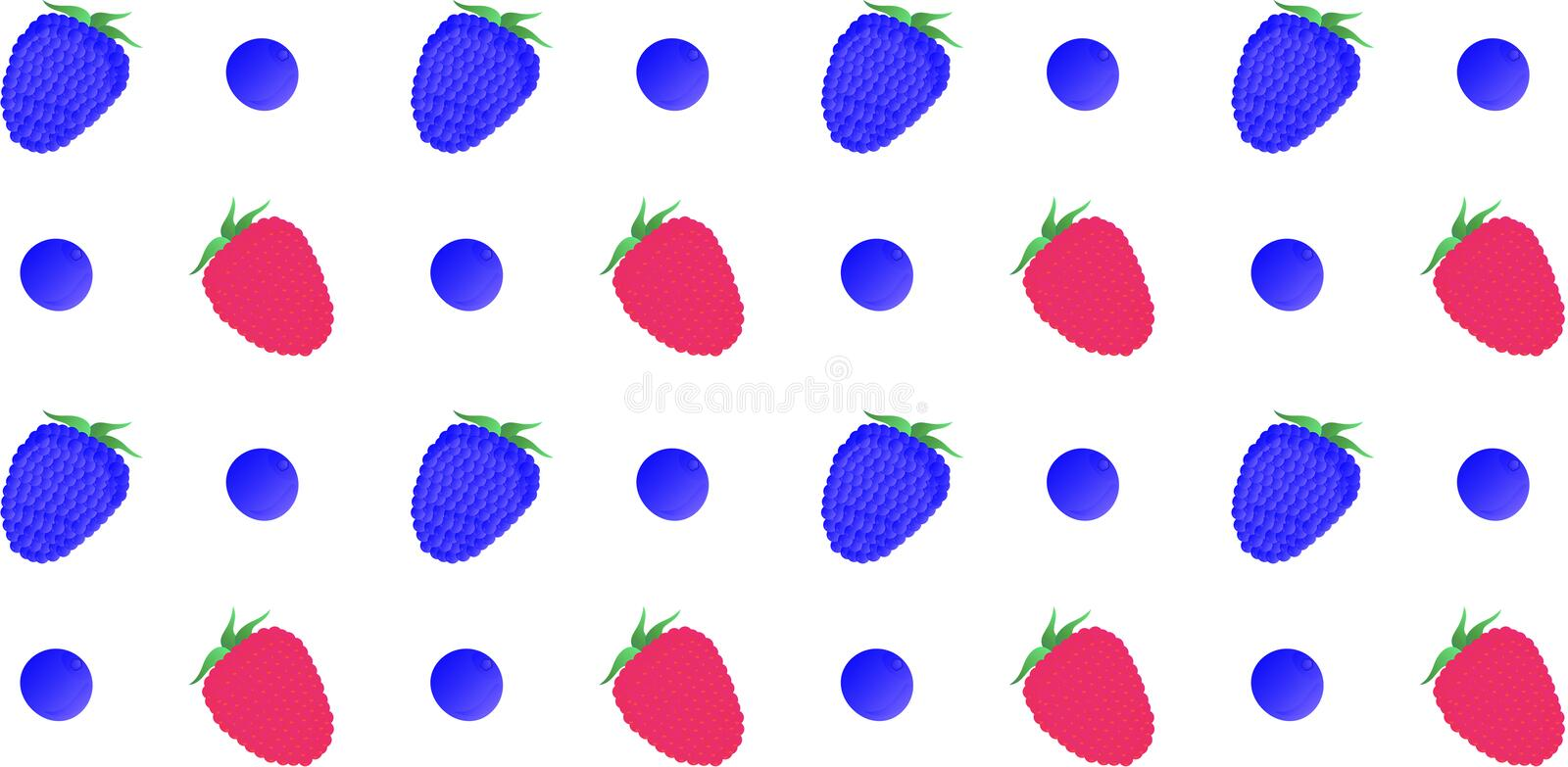 Seamless pattern. Raspberry, blackberry and blueberry berries on a white background. Vector stock illustration