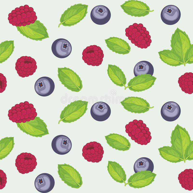 Seamless pattern with raspberry, mint and blueberry stock images