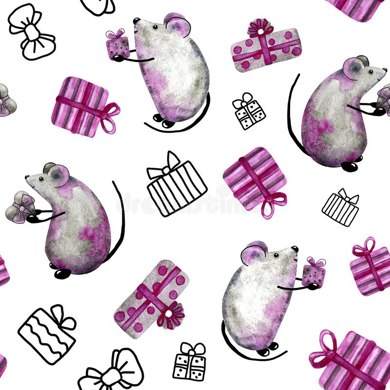 Seamless pattern with rat, mouse, symbol of New Year and Christmas 2020. Watercolor pattern for design background. Seamless pattern with rat, mouse, symbol of stock illustration