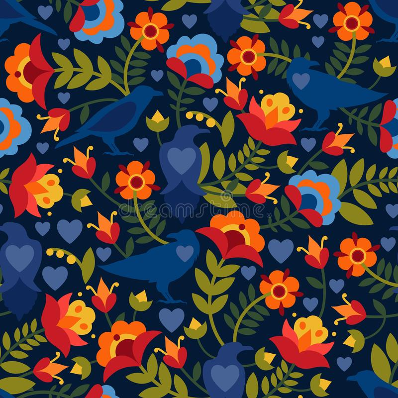 Seamless pattern with raven, symbols of the heart and flowers. Background with flat shapes in blue, green, red, orange and yellow stock illustration