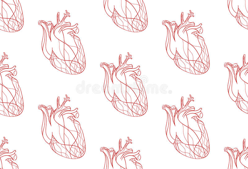 Download Seamless Pattern With The Real Heart Of The Red Lines Stock Vector - Image: 55722009