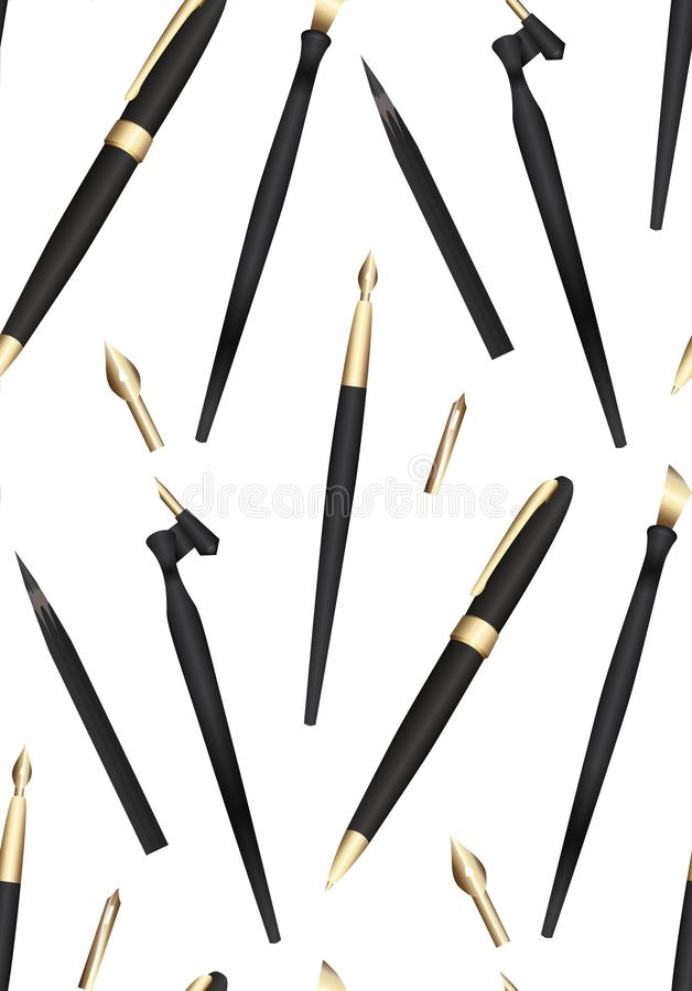 Seamless pattern with realistic 3D pens, pencils and feathers for writing. Stationery on white background. Vector texture stock illustration