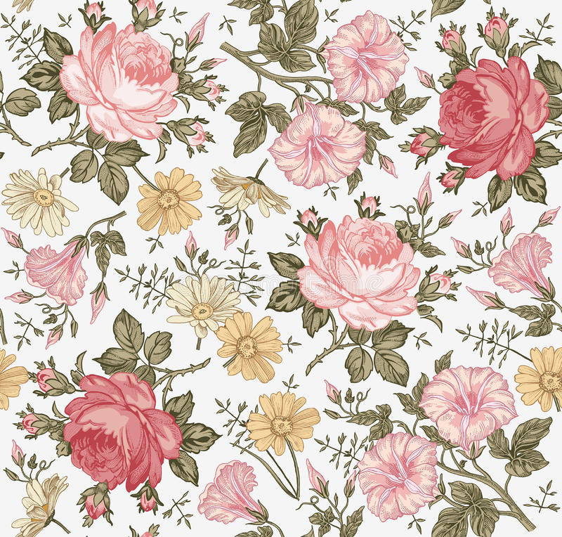 Seamless pattern. Realistic isolated flowers. Vintage background. Chamomile Rose Petunia wildflowers Drawing engraving Vector. Seamless pattern. Beautiful pink vector illustration