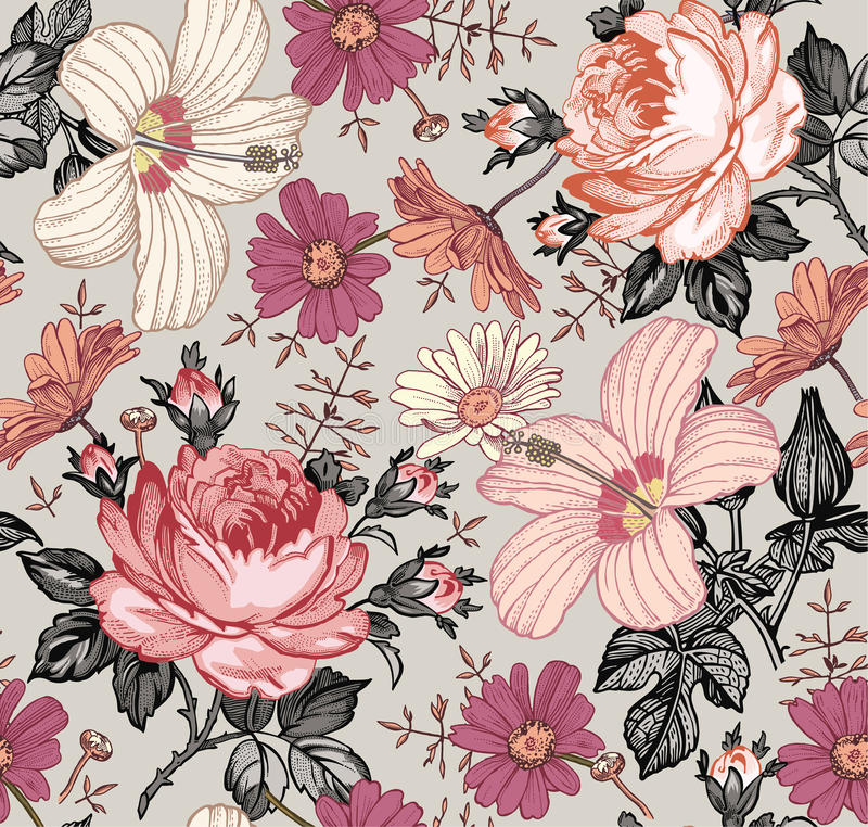 Seamless pattern. Realistic isolated flowers. Vintage background. Chamomile Rose hibiscus mallow. Wallpaper. Drawing engraving. stock illustration