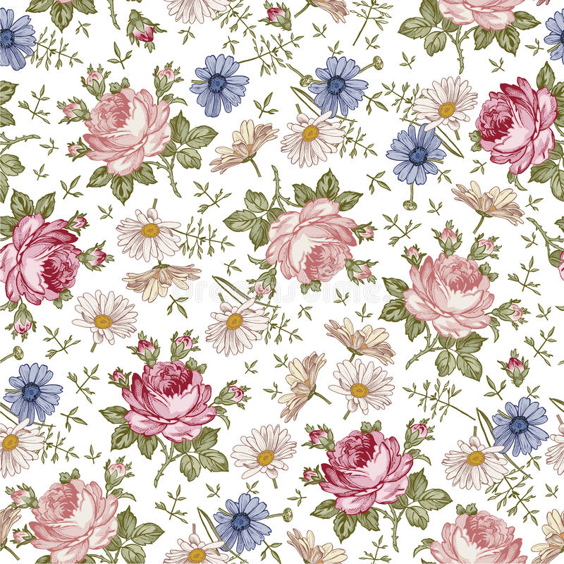 Seamless pattern. Realistic isolated flowers. Vintage baroque background. Chamomile Rose. Wallpaper. Drawing engraving. stock illustration