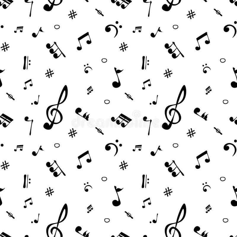 Seamless pattern of realistic musical notes. Vector vector illustration