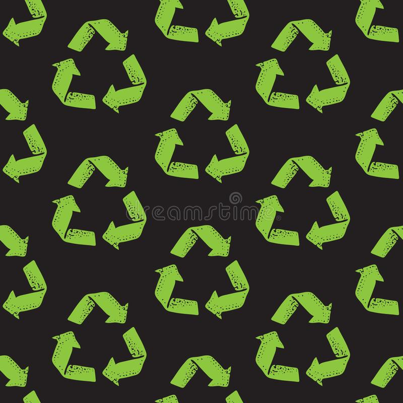 Seamless pattern with recycle reuse symbol isolated on black background. Recycle sign for ecological design zero waste vector illustration