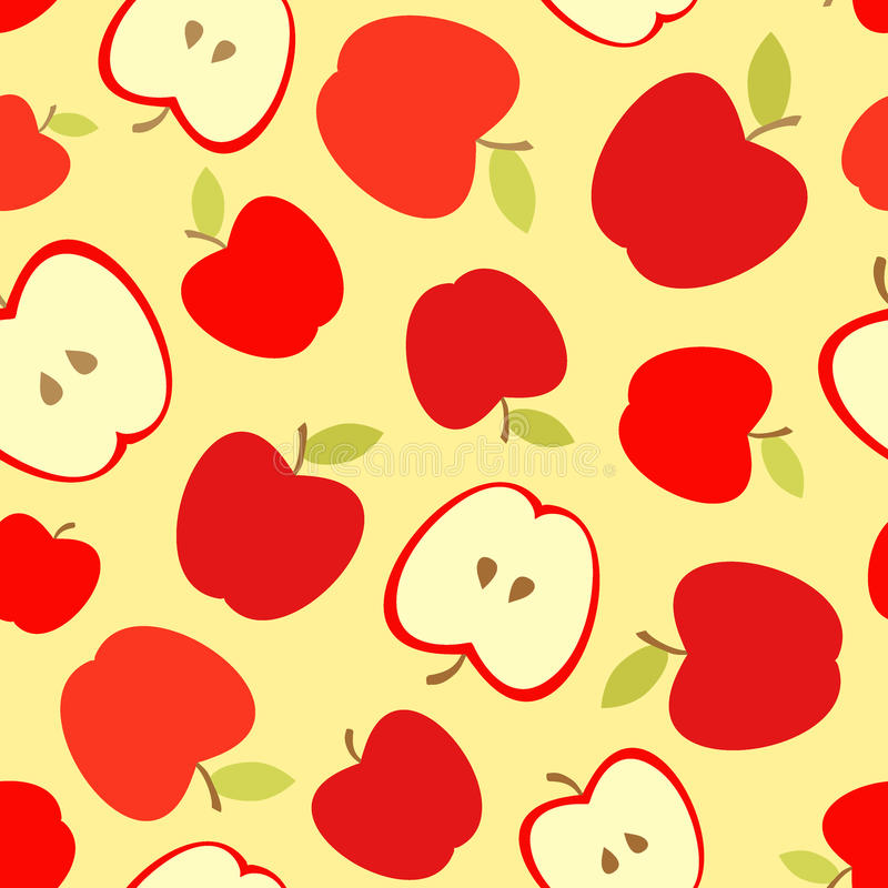 Seamless pattern with red apples and apple slices. stock illustration