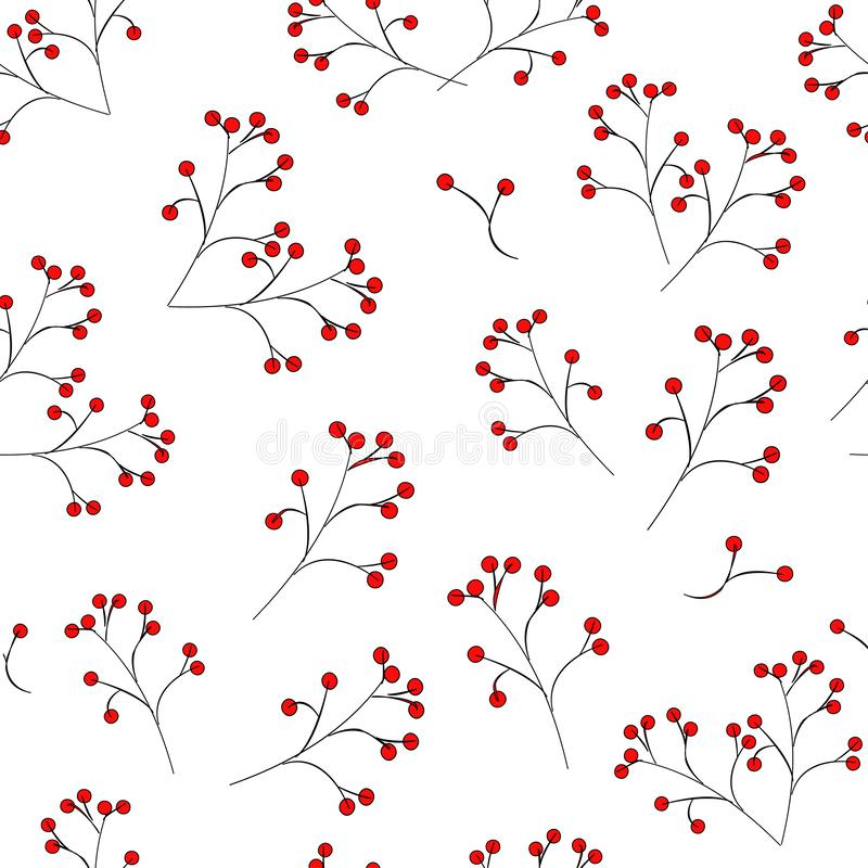 Seamless pattern: red berries on a black stalk on a white background. vector. illustration. royalty free illustration