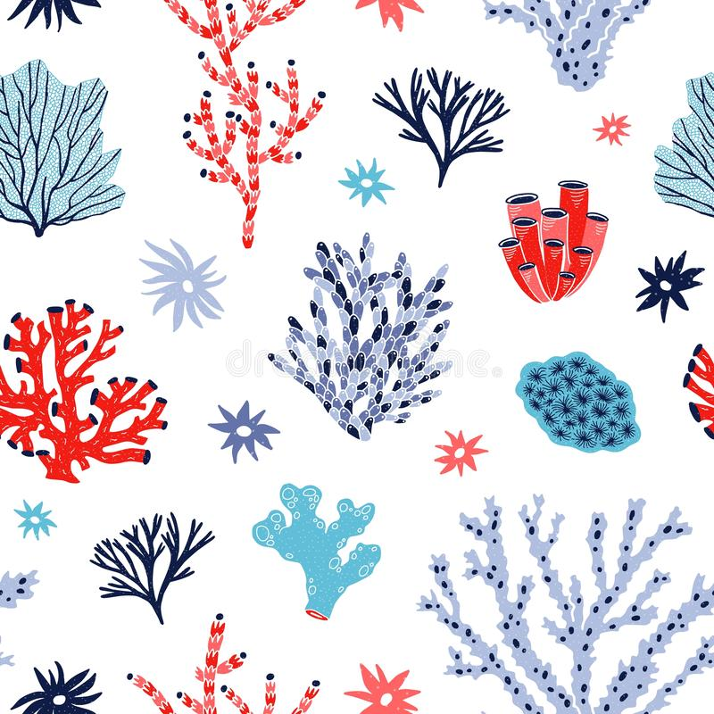 Seamless pattern with red and blue corals and seaweed or algae on white background. Backdrop with tropical aquatic. Creatures, undersea flora and fauna, sea or vector illustration
