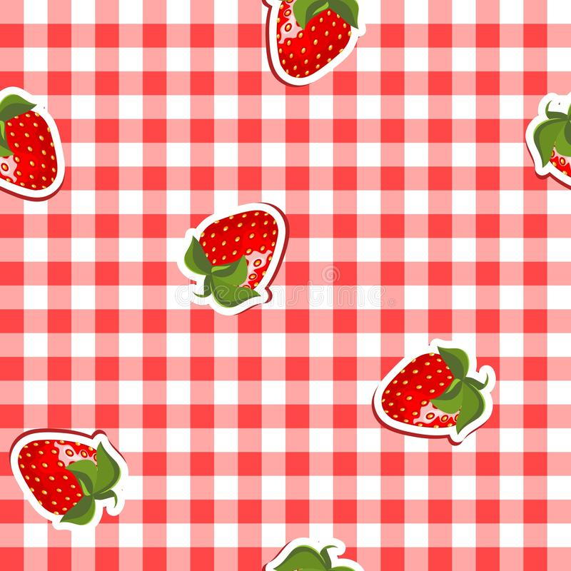 Seamless pattern with red canvas and strawberries