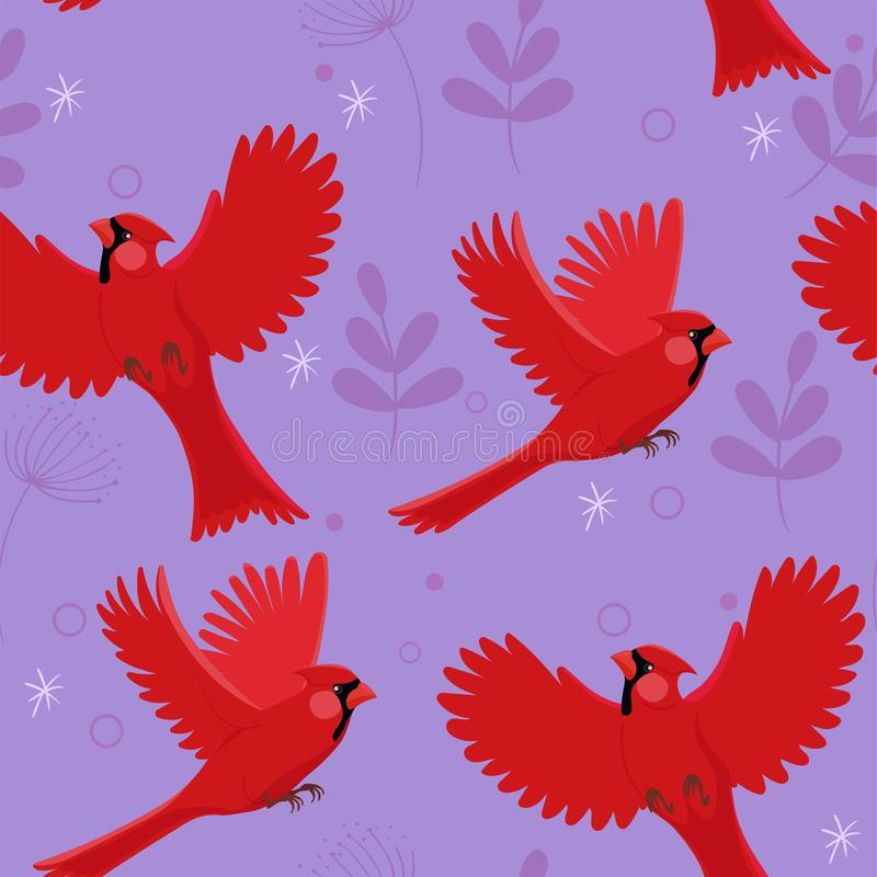 Seamless pattern with red cardinal bird and little leaves. Vector illustration stock illustration