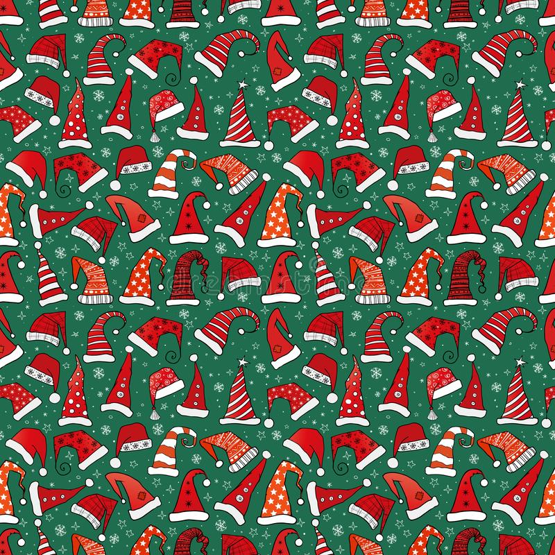 Seamless pattern with red Christmas Santa hats on dark green background. Vector illustration. royalty free illustration