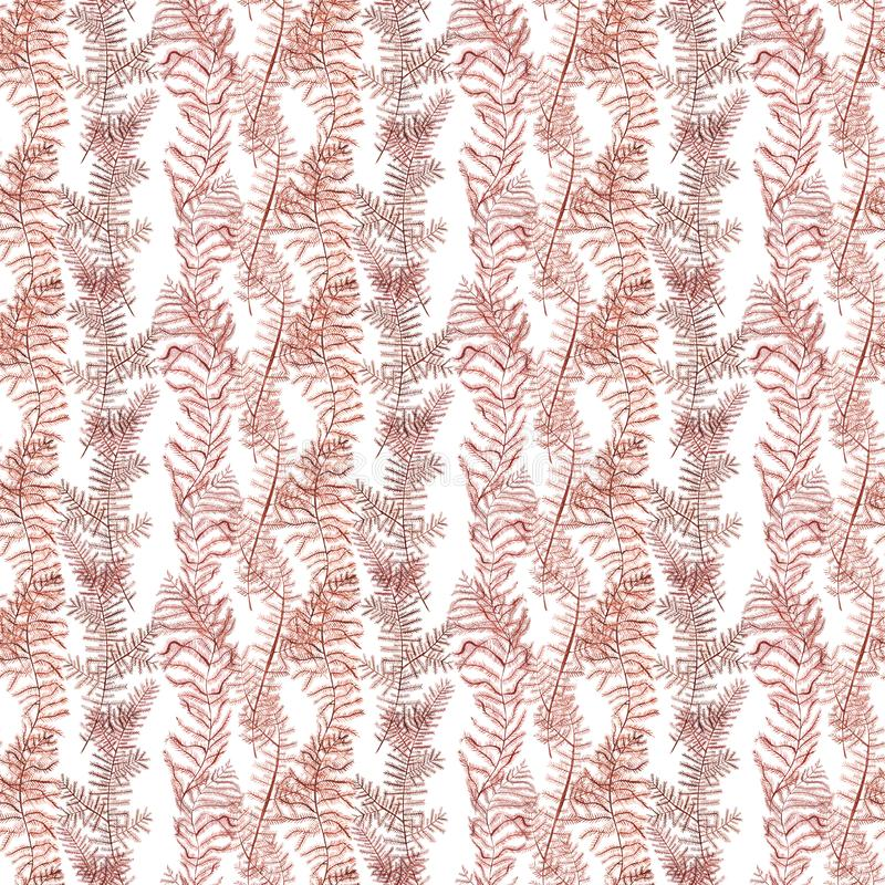 Seamless pattern of red corals watercolor illustration. Hand drawn sketch for design. Underwater watercolor background stock illustration