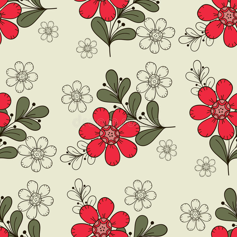Seamless Pattern Red Flowers. Seamless pattern with hand drawn red flowers. Doodle design. Vector illustration royalty free illustration