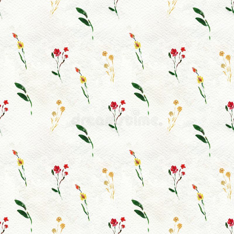 Seamless pattern with red flowers. And leaves. Floral watercolor background vector illustration