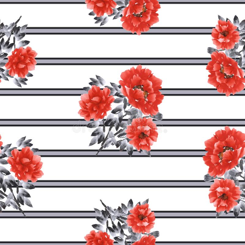 Seamless pattern of red flowers of peony on a white background with black and gray horizontal stripes. Watercolor -1 stock illustration