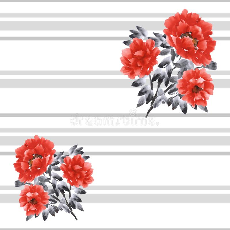 Seamless pattern of red flowers of peony on a white background with gray horizontal stripes. Watercolour vector illustration