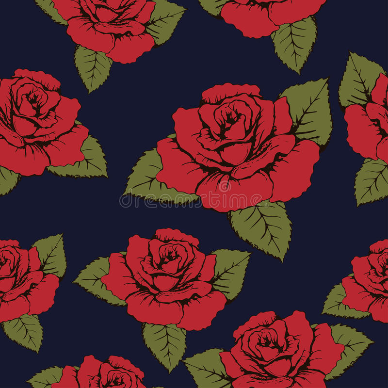 Seamless pattern of red flowers roses, texture. Red buds, petals, green leaves on a blue background. Wallpaper, paper, wrapper, pa vector illustration