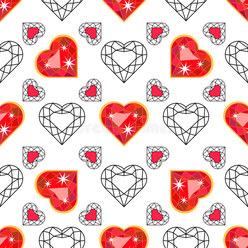 Seamless pattern with red gem Ruby. Seamless pattern with bright red precious gem Ruby in heart cut in color and outline on white background. Vector illustration royalty free illustration