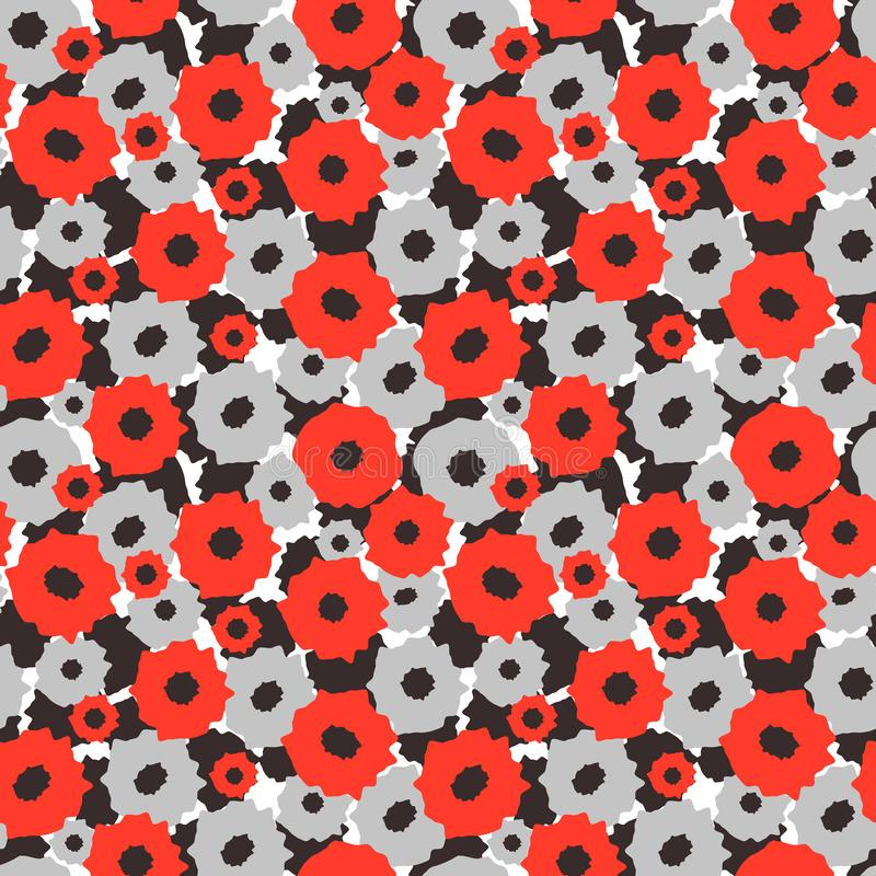 Seamless pattern with red and gray flowers on a black and white background vector illustration
