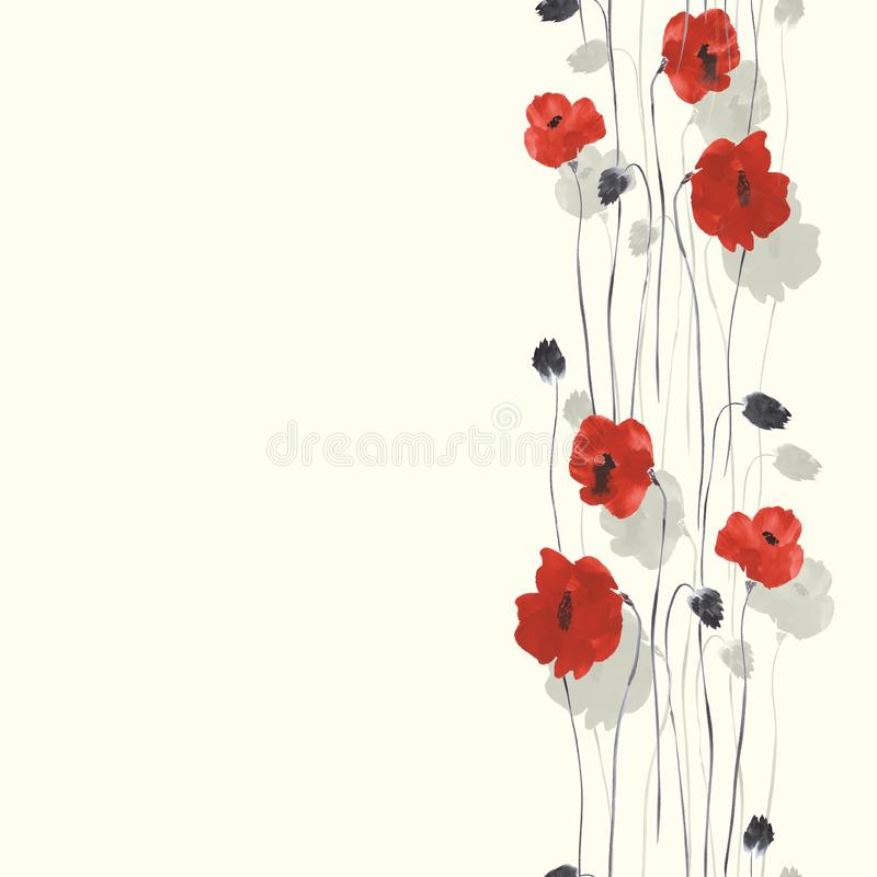 Seamless pattern of red and gray flowers of poppy on a light yellow background. Watercolor -1 stock illustration