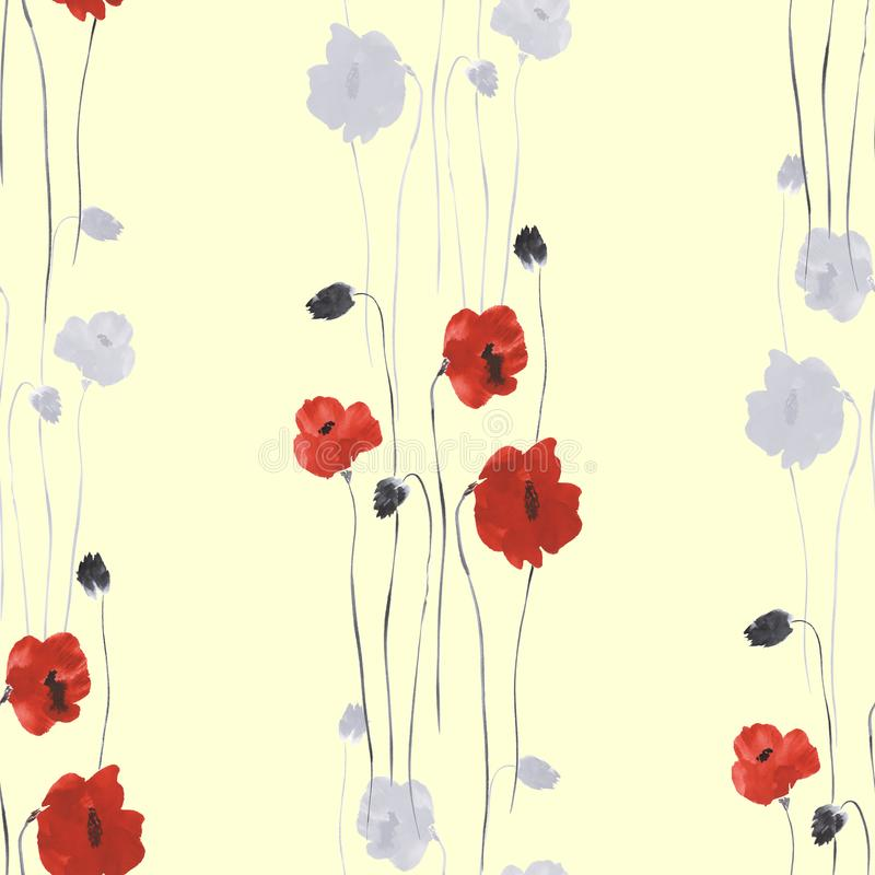 Seamless pattern of red and gray flowers of poppy on a light yellow background. Watercolor stock illustration