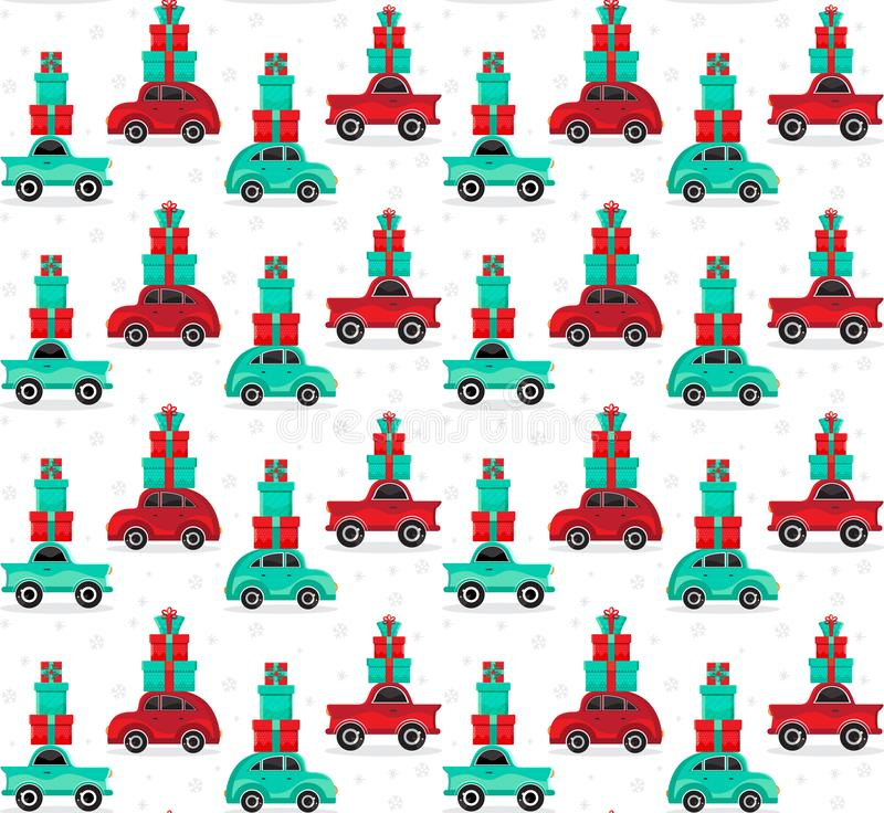 Seamless pattern red and green cars carries gifts in vector. Christmas and new year background. Cartoon toy car. Flat design royalty free illustration