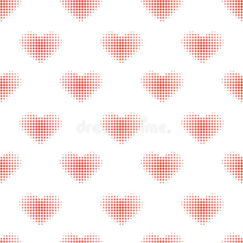 Seamless pattern with red halftone heart stock illustration