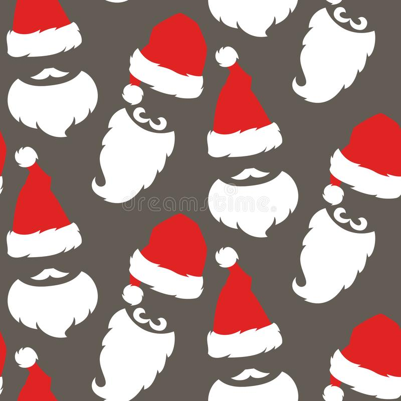 Seamless pattern with Red hats and beard of Santa Claus. royalty free illustration